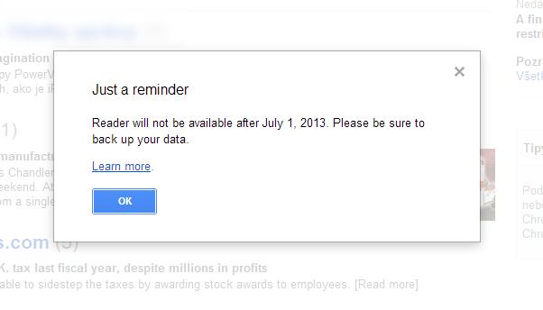 Chybová hláška Google Readeru