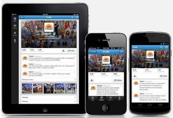 Twitter mobilní zařízení